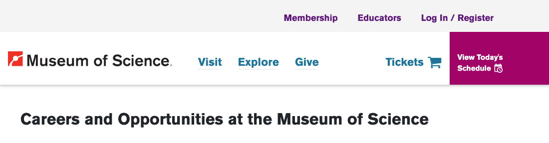 Museum of Science Internships